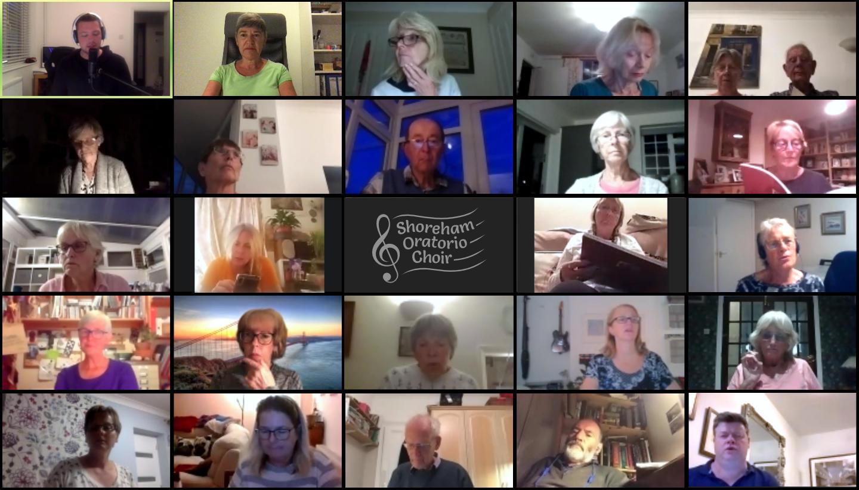 Screenshot of choir on Zoom call